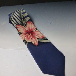 tommy bahama hibiscus navy blue necktie